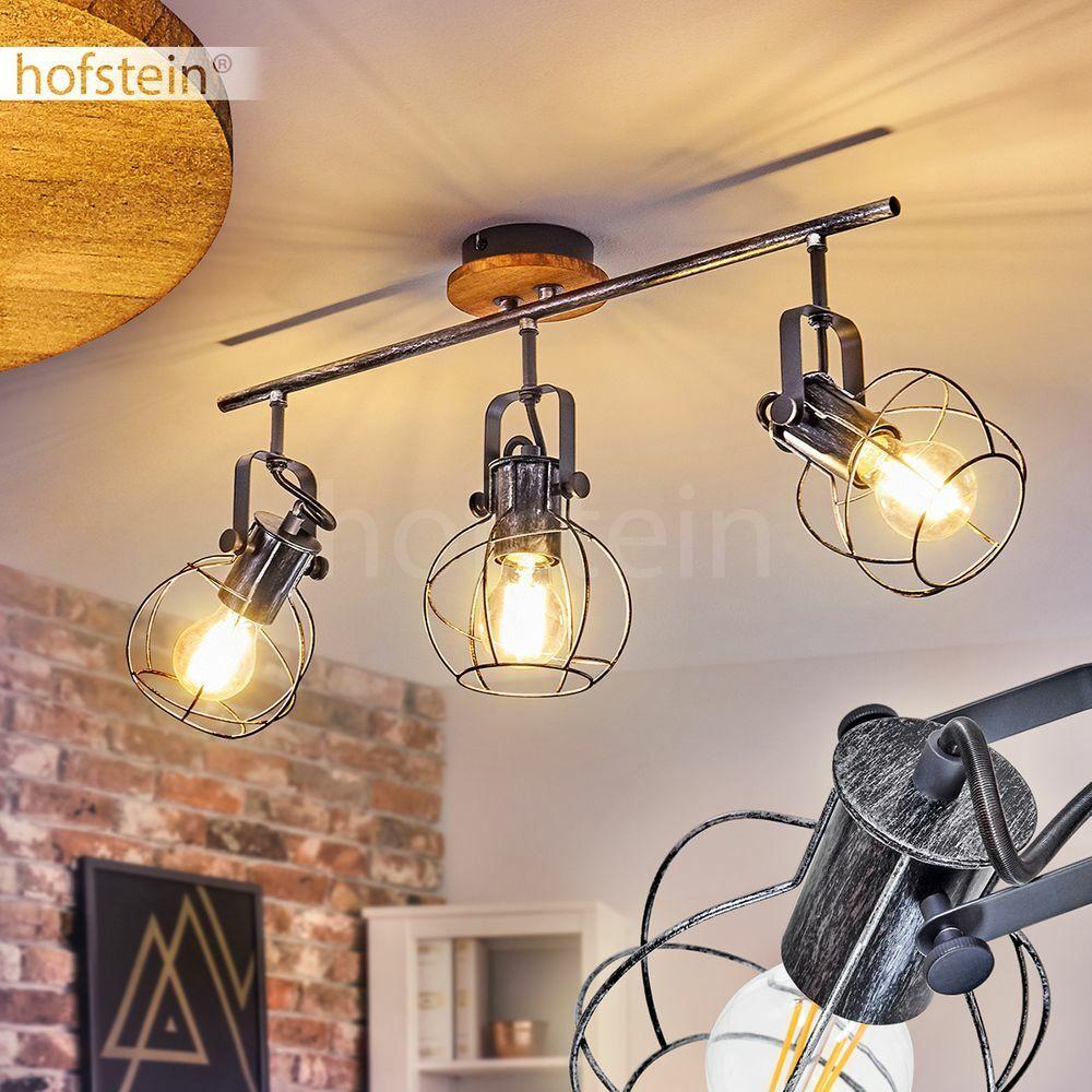 Retro Wohn Schlaf Raum Leuchten 3-flammig Decken Lampe Holz Silber Flur Strahler