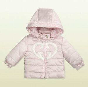 5208d8970 NWT NEW Gucci baby girls pink GG heart logo puffer coat jacket 6/9m ...