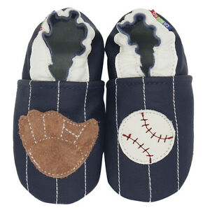 carozoo baseball dark brown 18-24m soft sole leather baby shoes