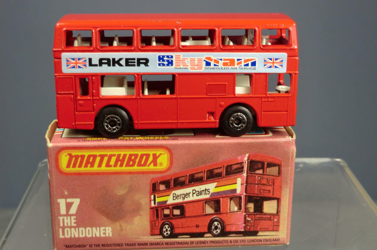 MATCHBOX SUPERFAST MODEL No.17G  LAKER SKY TRAIN   TITAN LONDON BUS   MIB