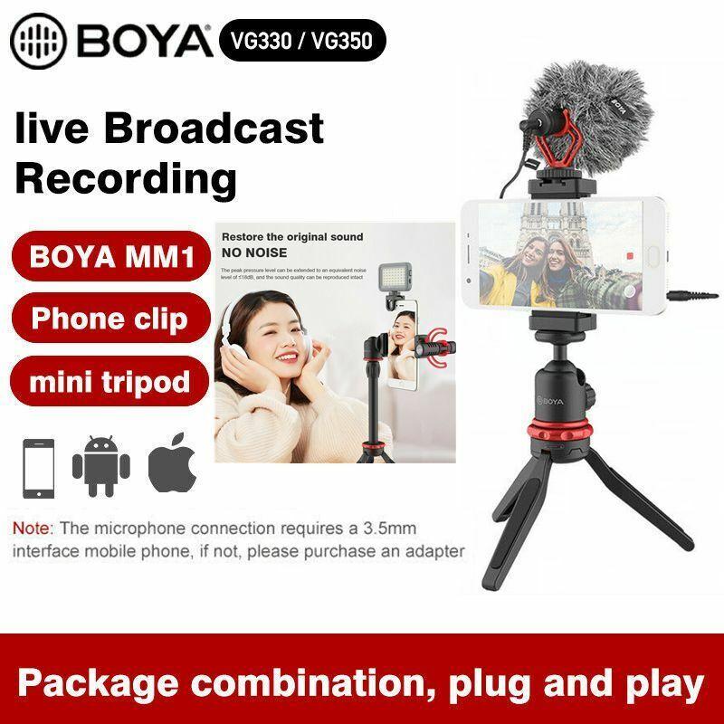Boya BY-VG330 BY-VG350 Microphone Video Kit Clip LED Light fr PC Vlog LiveStudio