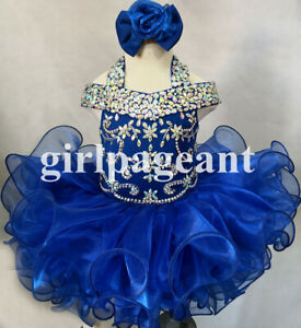 green Infant//toddler//baby rhinestone/&Crystals Pageant Dress 115