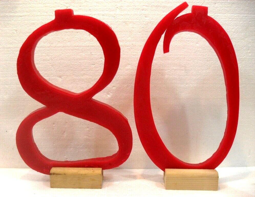 Candele GIGANTI eccezionali n° 80 cm. 32x24 e 21 base legno Farbee rot c foto