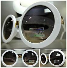 OVERSIZE VINTAGE RETRO Style SUNGLASSES Huge Round White & Gold Frame Smoke Lens