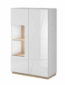 highboard vitrine sideboard kommode wohnzimmer schrank in weiss hochglanz eiche ebay. Black Bedroom Furniture Sets. Home Design Ideas