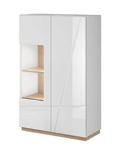 highboard vitrine sideboard kommode wohnzimmer schrank in weiss hochglanz eiche ebay. Black Bedroom Furniture Sets. Home Design Ideas