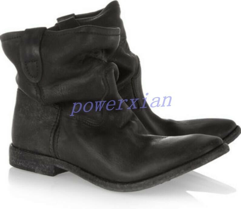 Womens Ankle Boots Pull On Vintage Roma Slouch Leather Suede Casual Flat Shoes