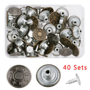 Denim-Jeans-Button-Metal-Tack-Snap-Buttons-Rivets-With-Clear-Box-Kit-40pcs-Set