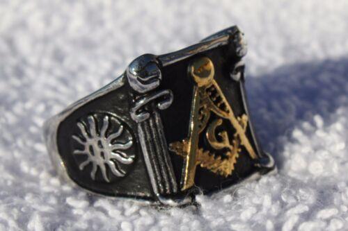 Stainless Steel Solid Mason Ring 8 thru 14 Masonic