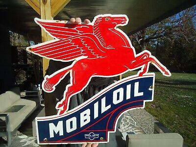 "MOBIL OIL PEGASUS HORSE IRREGULAR DIE CUT SIGN 22/"" HIGH BY 20/"" WIDE"