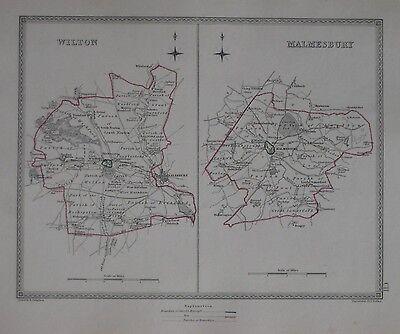 WILTSHIRE TOWNS CREIGHTON//WALKER 1835 map Wilton Malmesbury borough plans