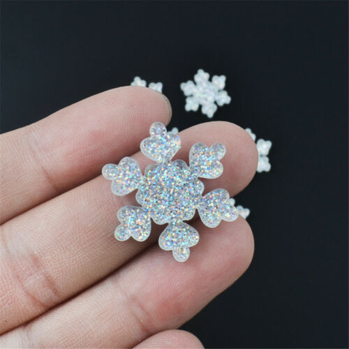 10 pcs Resin Cabochons Flatbacks Snowflake Shaped Craft Glitter Decor 16//26mm