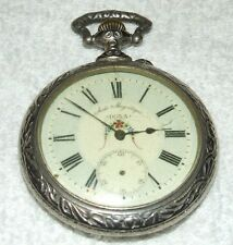 HUGE Antique DOXA Swiss Pocket Watch with Ornate Figural Deer Hunter Case, Rare!