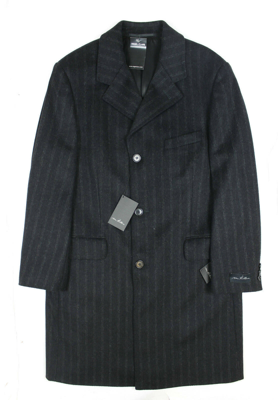 Van Kollem - Charcoal Stripe Overcoat - 48() - NEW WITH TAGS RRP