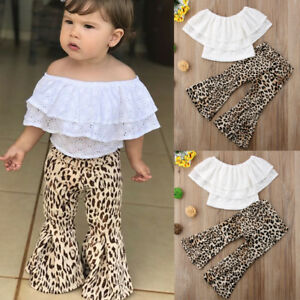 3d8b14da0a47b US Kids Baby Girl Clothes Lace Top T shirt+Flares Pants Bell Bottoms ...