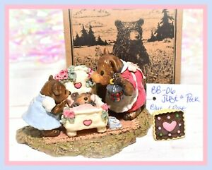 ❤️Wee Forest Folk BB-06 Just a Peek Bear Baby Rose Pink Family Box BB-6 WFF❤️