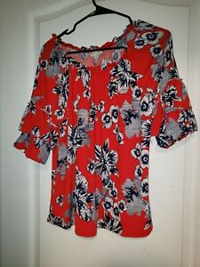 Red-Blue-Floral-Corvia-Blouse-Shirt-Top-Size-M-Medium-Scoop-Neck-Balloon-sleeve