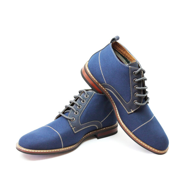 Men's Blue Ferro Aldo Ankle Boots Cap Toe Canvas Leather Lace Up 506013A Modern