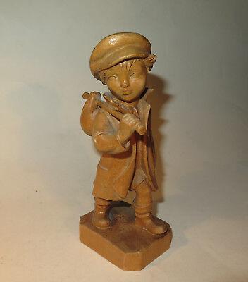 7628: Holzfigur,kunsthandlung RÖtzel Frankfurt/m, Wanderjunge, Sehr Detailliert. BüGeln Nicht