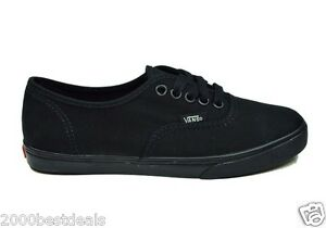 Vans Authentic Lo Pro Canvas Women Men Shoes All Black Sneakers ... 04cd24010