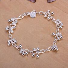 """Unisex Women's 925 Sterling Silver Bracelet Beads 8"""" L17"""