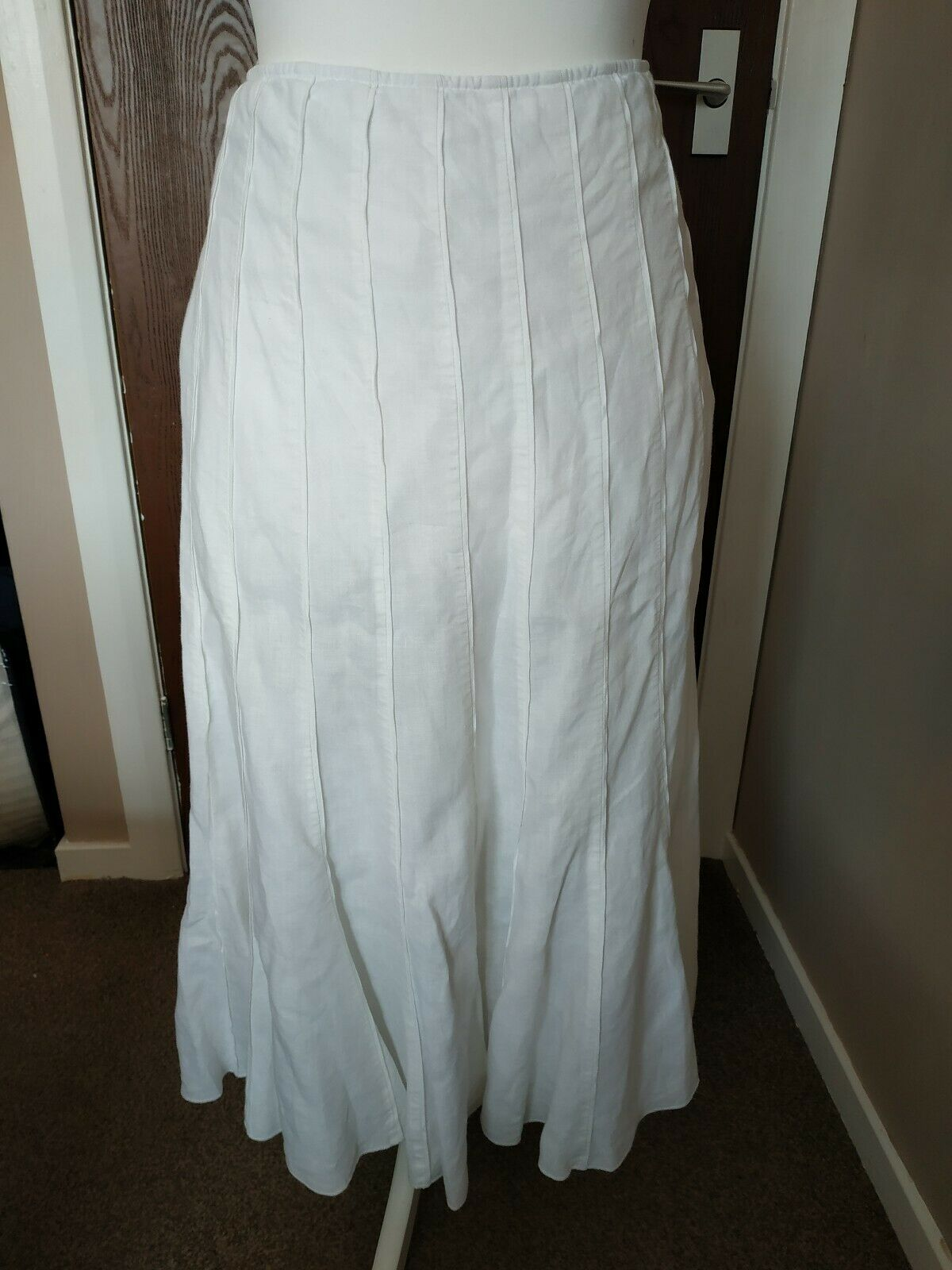Gorgeous Per Una Maxi Skirt White Linen  Long Fishtail Size 12L Festival Boho