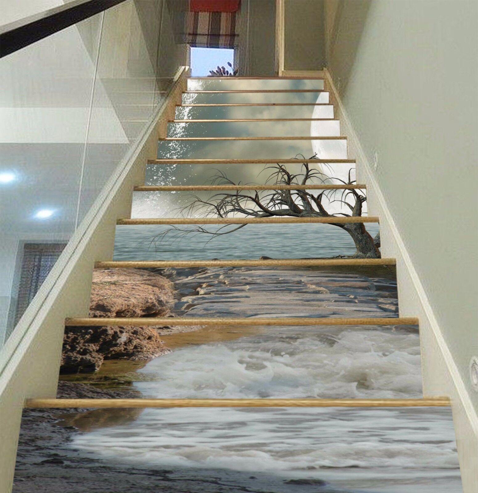 3D Sea Bare Tree 15 Stair Risers Decoration Photo Mural Vinyl Decal Wallpaper AU