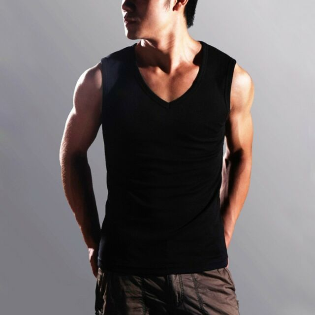 New Tops Mens Tank Slim Fit Sleeveless Micro Modal V-Neck Muscle Tee T Shirt