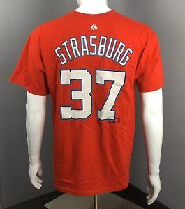 Stephen Strasburg Red T-Shirt - Washington Nationals - Majestic - #37
