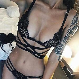 609520c7a31f Girl Sexy Black Lace G String Thong Bra Babydoll Underwear Sleepwear ...