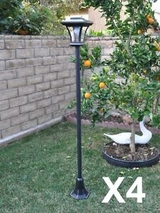 solar powered lamp post light with bright led bulb garden adjustable