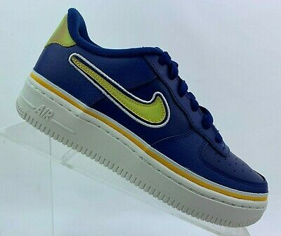 NIKE AIR FORCE 1 /'07 LV8 SPORT GS NBA Blue Yellow AR0734 400 Youth Size 7Y