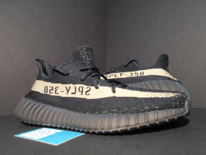 huge discount b91c8 a5294 Details about ADIDAS YEEZY BOOST 350 V2 KANYE WEST CORE BLACK GREEN STRIPE  OLIVE BY9611 10.5