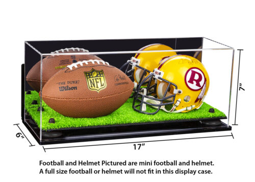 A019-BR MINI Football /& Helmet Case w// Mirror WallMount Black Risers Turf Base