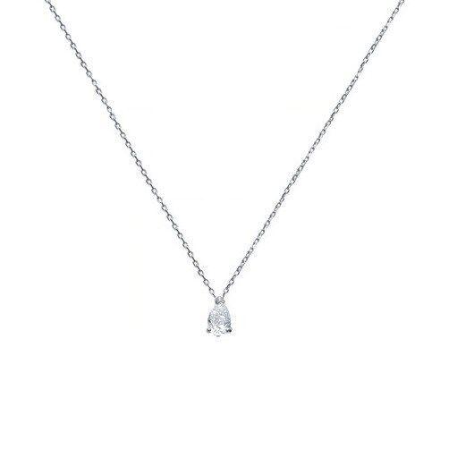 Collana SOLITARIO GOCCIA Zirconio 42 45 cm in argentoo argentoo argentoo NUOVO 60a537