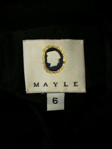 Mayle Cocktailkleid Schwarz Kombination 6 Knopf Wolle Detail Seide Schier xwxa0