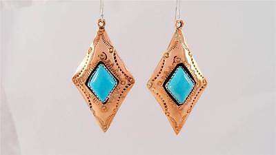 Genuine Turquoise Kingman Copper Square Dangle SS Hook High Gloss Navajo Indian