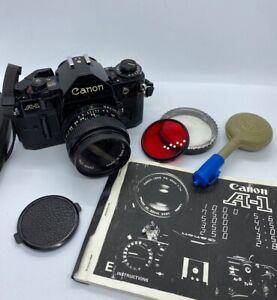 Canon-A-1-35mm-camara-SLR-de-pelicula-amp-Lentes-Canon-Fd-28MM-1-2-8-Manual-Filtro-gran