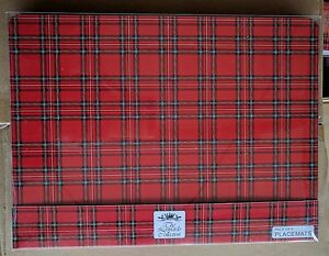 Red Tartan Scottish Design Set Of 4 Placemats Table Mats