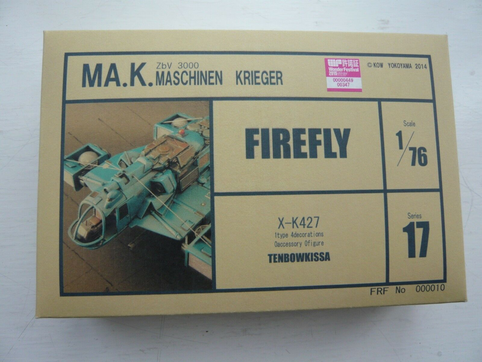 Tenbowkissa Series 17  FIREFLY X-K427  Ma.K 1 76 Resin Model Kit MIB