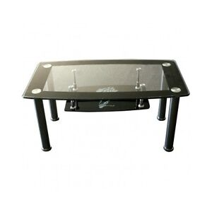 Glass Top Coffee Table Black Modern Storage Shelf Small Cheap