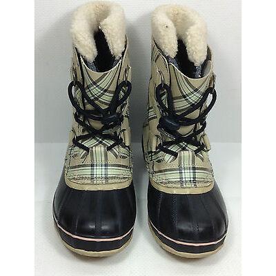 Sorel Oatmeal Plaid Winter Boots NY1443-242 Size 5 US.