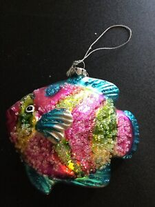 Hand Blown Glass Glitter Tropical Fish Christmas Tree ...