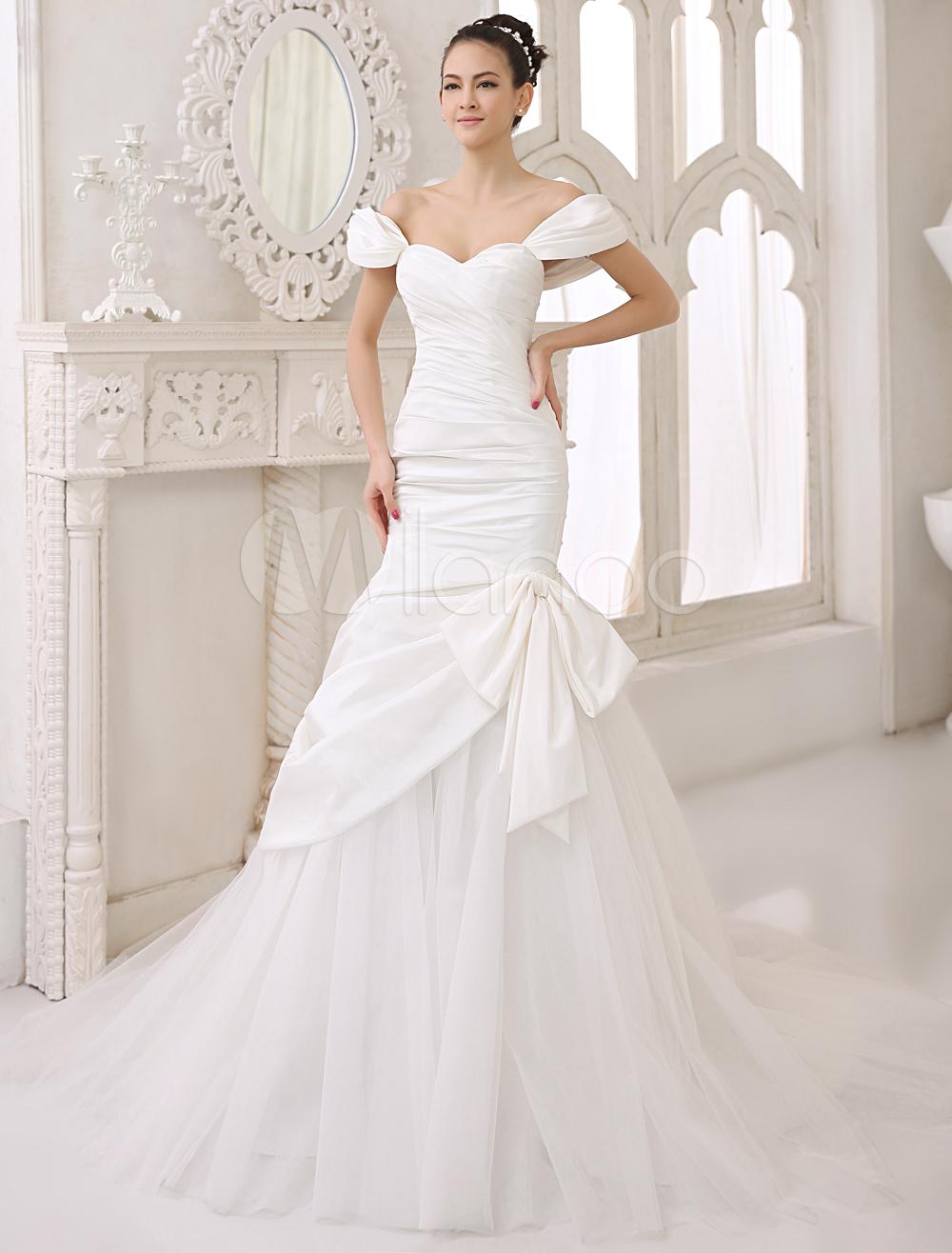 Chapel Train Bow Bridal Mermaid Wedding Dress Sweetheart Neck Off-The-Shoulder 6