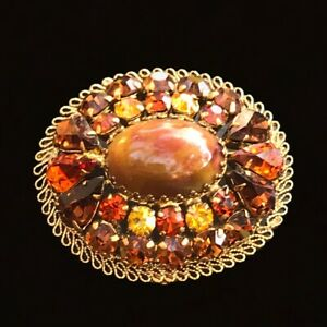 Vintage Gold Tone Prong Set Brown Rhinestone Brooch Pin Womens Made in Austria
