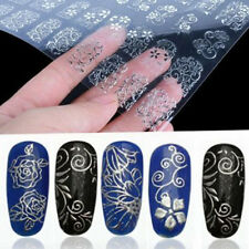 US DIY 108pcs/set 3D Silver Flower Nail Art Stickers Decals Stamping Decor Tools