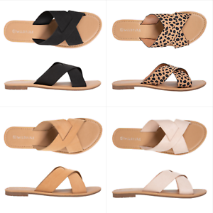 Details about NEW Spendless Womens Vanuatu Wildfire Flat Casual Sandal Slide Cross Over Straps