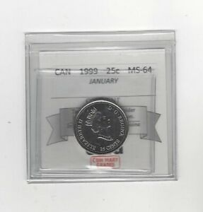 1999-January-Coin-Mart-Graded-Canadian-Twenty-Five-Cent-MS-64