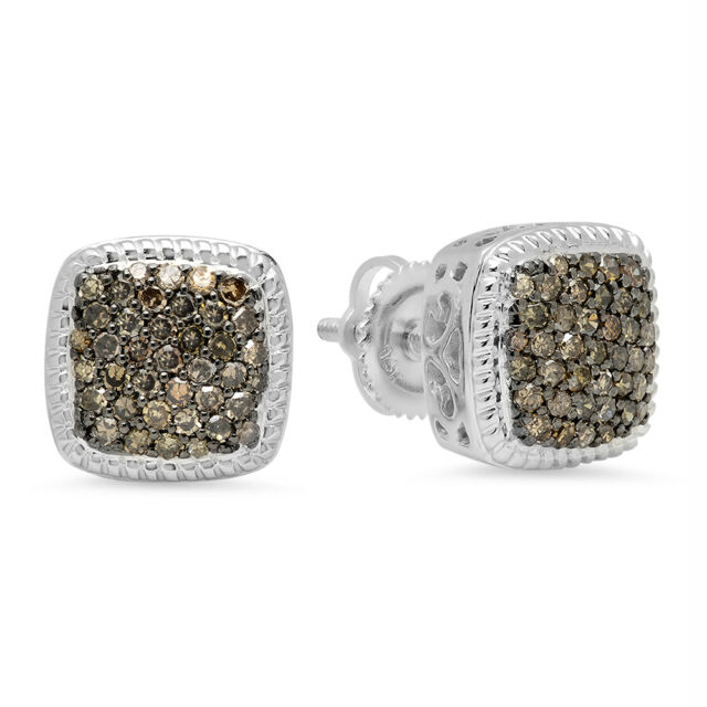 d8cd7ae729 0.60 CT 14K White Gold Champagne Diamond Ladies Cluster Style Stud Earrings