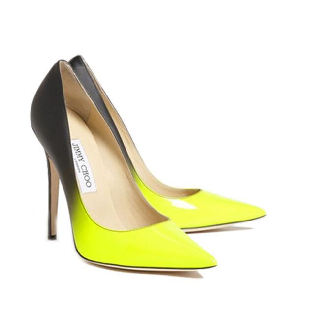 Jimmy Choo Anouk Neon Yellow Patent Black Matt Leather Degrade 37 Off Rrp